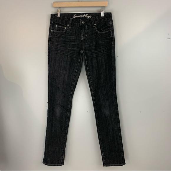 American Eagle Jeans Skinny Straight Black 6 Regular